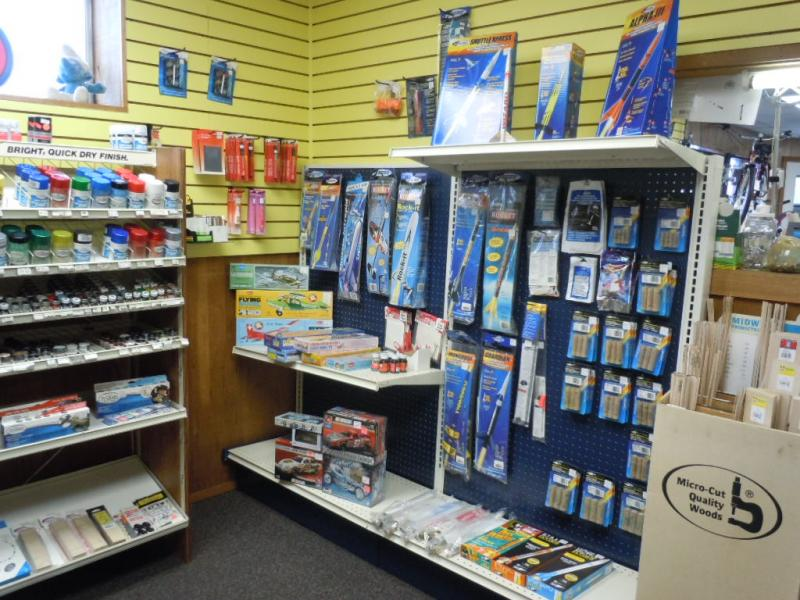 Rockets, paints, glues in the hobby shop
